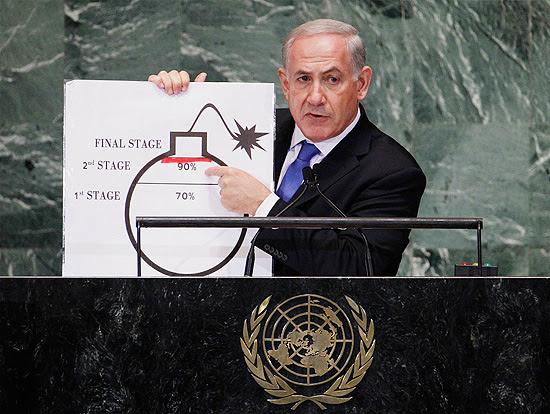 Netanyahu mostra cartaz do avanço nuclear do Irã; segundo ele, Teerã chegou a 70% para bomba