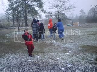 Grandchildren playing in the snow
