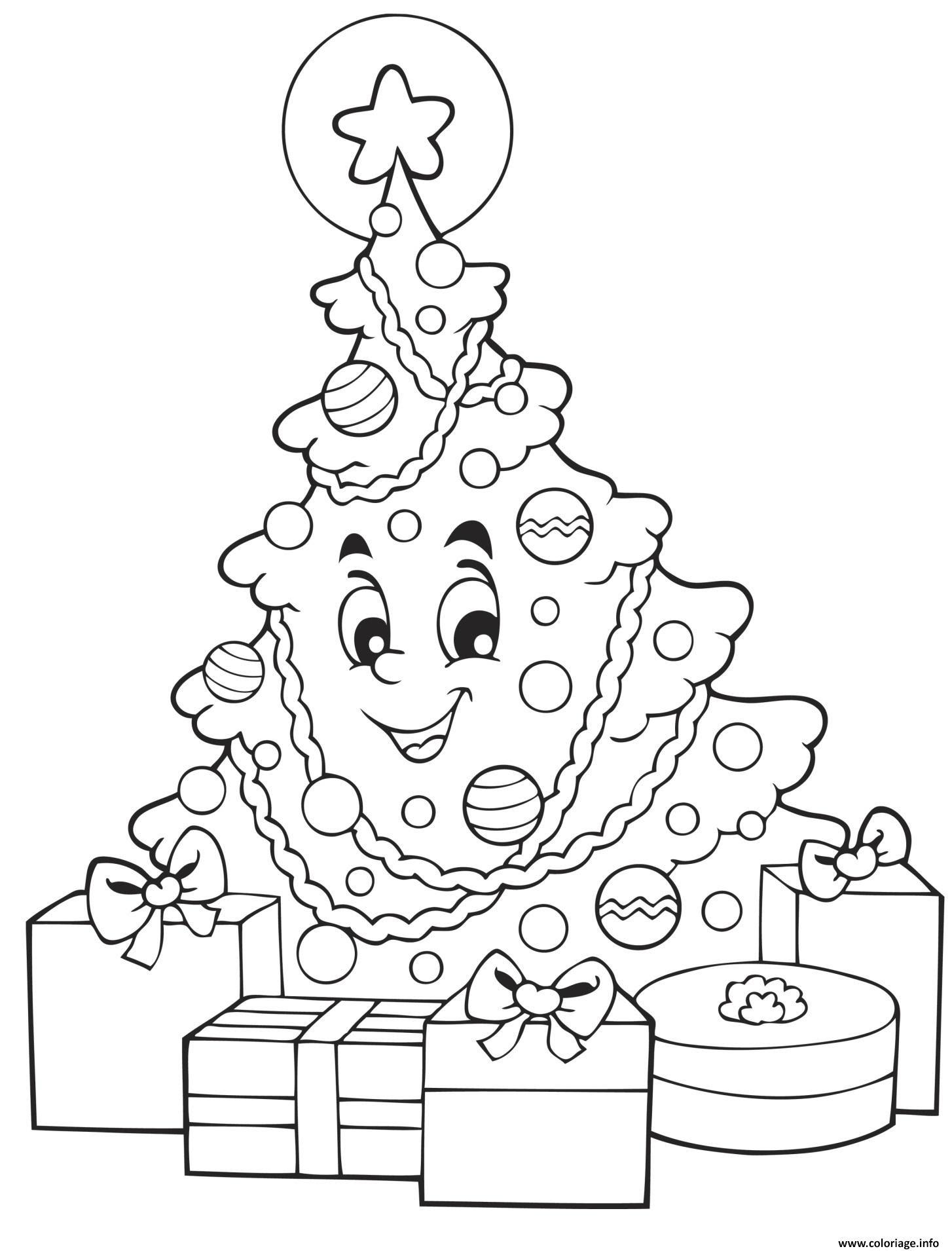 Coloriage Sapin De Noel Souriant Avec Des Cadeaux De Noel Dessin  Imprimer