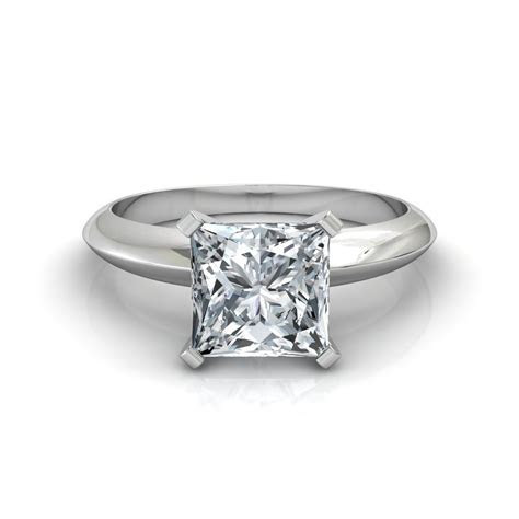 Knife Edge Princess Cut Solitaire Diamond Engagement Ring