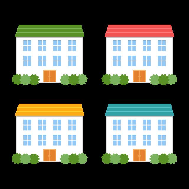 カラフルな屋根のアパート4色の無料ベクターイラスト素材 Picaboo