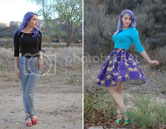 Southern California Belle in houndstooth pants and a flytrap skirt