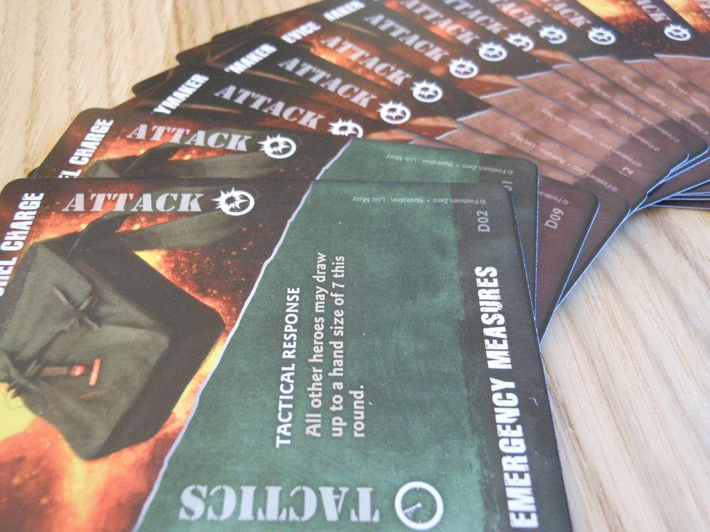 Attractive display of Fireteam Zero basic action cards, showing details of one of the powerful Tactics commands.