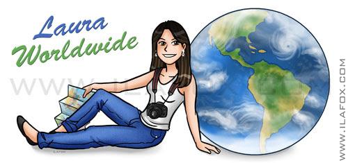 Cabeçalho personalizado, viagens, Laura Wordwide, by ila fox