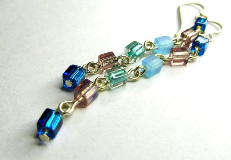 Sterling Silver Earrings with Glass Cube Beads Blues