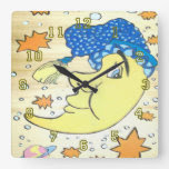 Moon and Stars Square Wall Clock