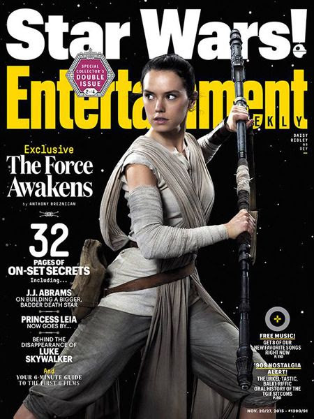 Rey (Daisy Ridley) graces one of four variant covers for a November 2015 issue of Entertainment Weekly magazine.