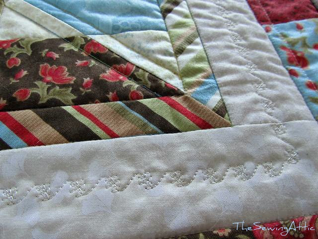 Quilting detail of jelly roll quilt