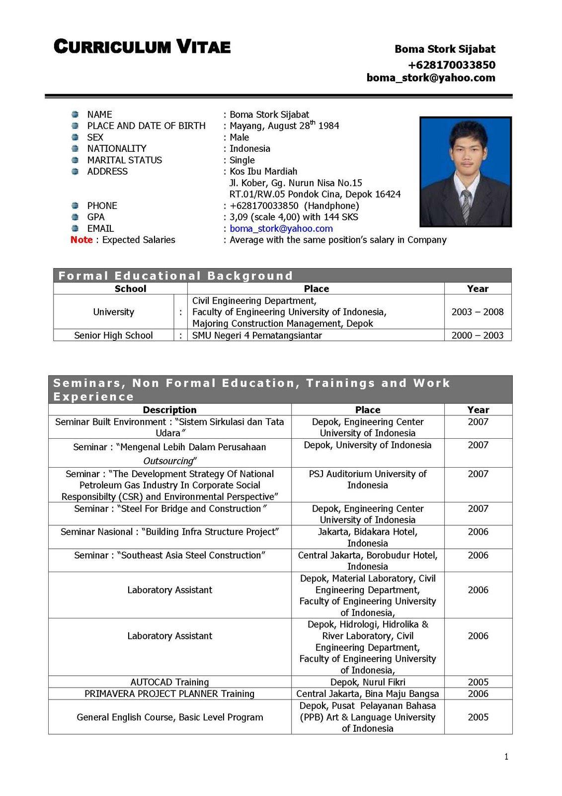 Contoh Curriculum Vitae Yang Benar Dalam Bahasa Inggris Best Resume Examples