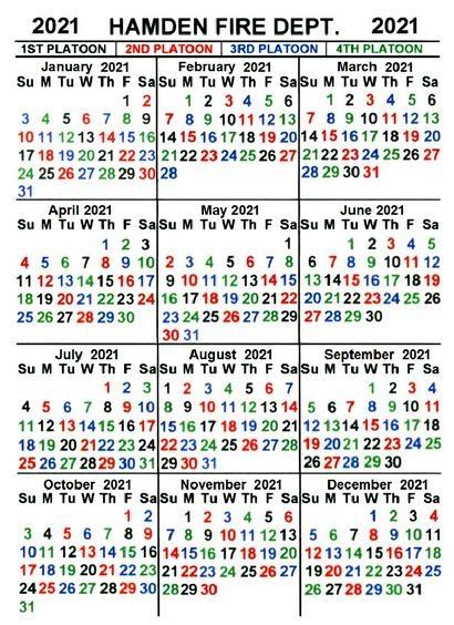 Firefighter Shift Calendar 2021 | Lunar Calendar