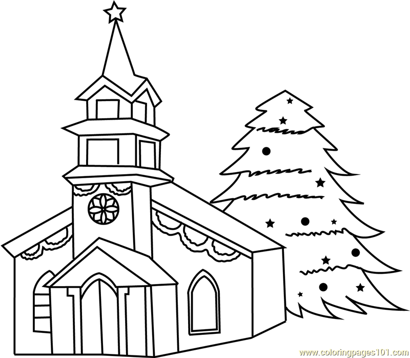 Decorated House with Christmas Tree Coloring Page - Free ...