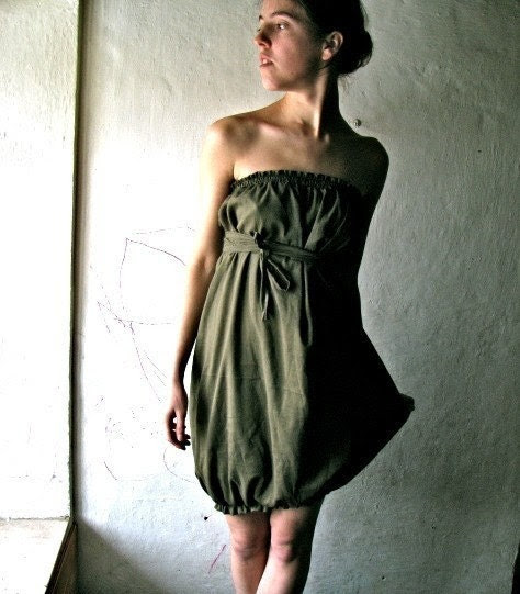 olive green bubble dress