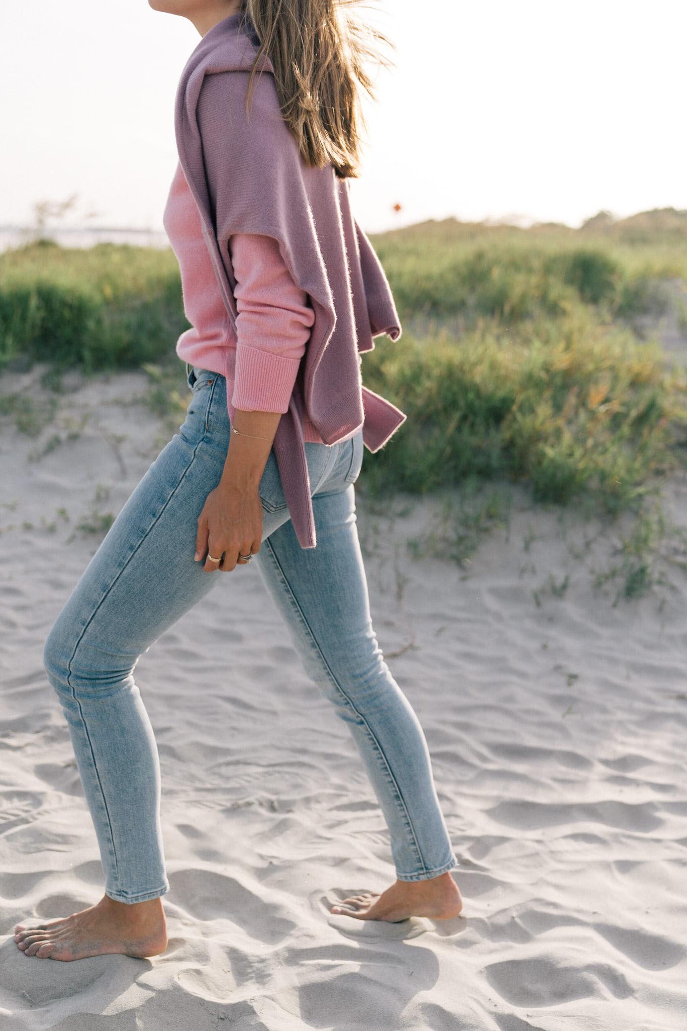 pink purple knit sweater jeans