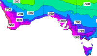 Map of winter rainfall regions in Australia
