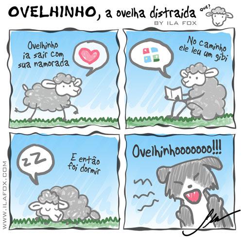 carneiro ovelha, ovelhinho a ovelha distraída vai sair com a namorada - quadrinhos by ila fox