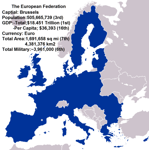 If the European Union Formed into a Single Country [[MORE]] mrstevybird:  Notes: Facts taken form Wikipedia; GDP is nominal, Total military is the is the total number of active + paramilitary + reserves.