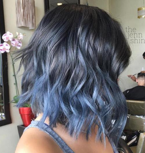 Black Blue Silver Ombre Hair
