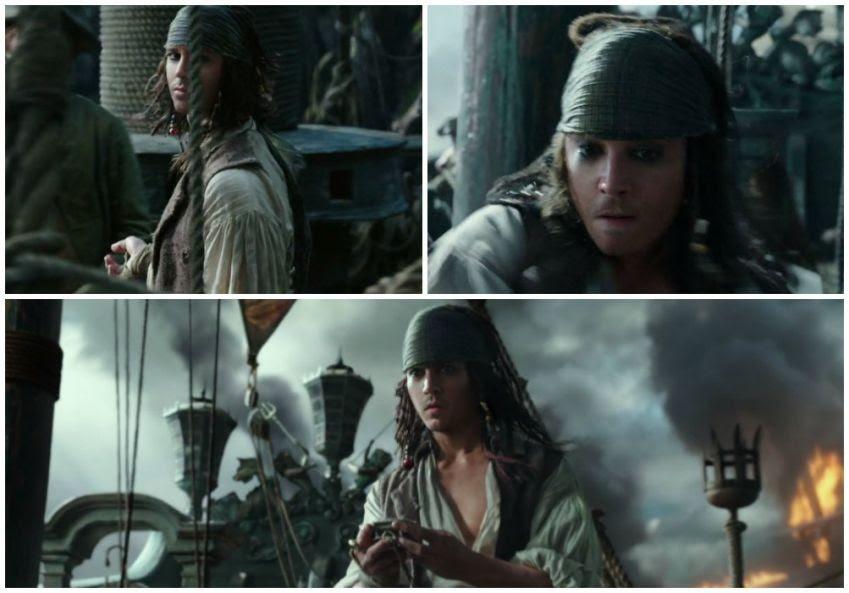 Montagem com os momentos em que aparece a versão com tratamento digital de Johnny Depp em 'Piratas 5' (Foto: Divulgação)