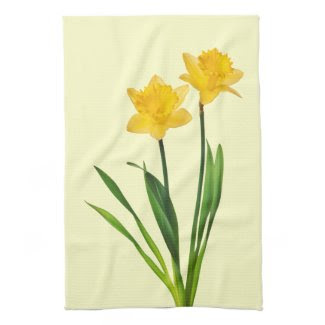 Yellow Spring Daffodils - Daffodil Template Kitchen Towels