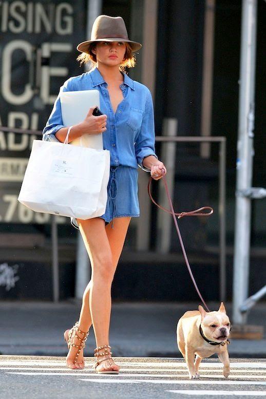 1 Le Fashion Blog 11 Chrissy Teigen Looks Denim Romper Valentino Studded Sandals Walking Dog photo 1-Le-Fashion-Blog-11-Chrissy-Teigen-Looks-Denim-Romper-Valentino-Studded-Sandals-Walking-Dog.jpg