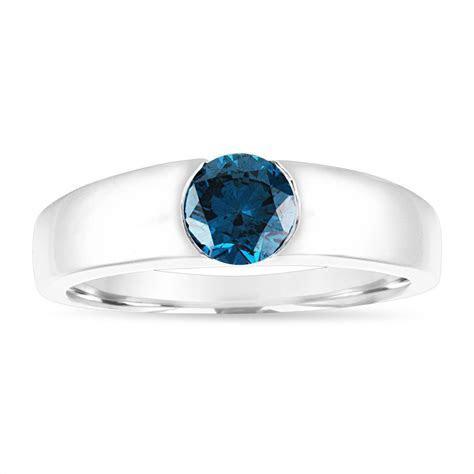 Blue Diamond Mens Wedding Ring, Mens Solitaire Ring