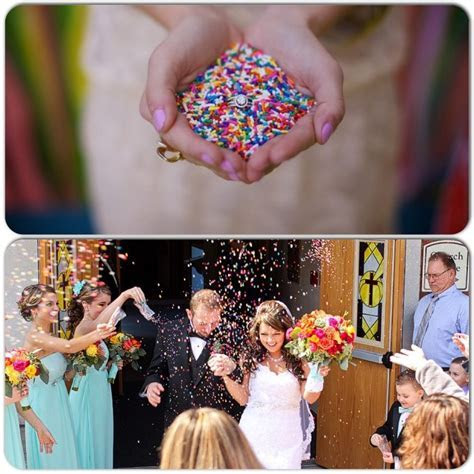 Throwing sprinkles instead of rice at a wedding. Fun