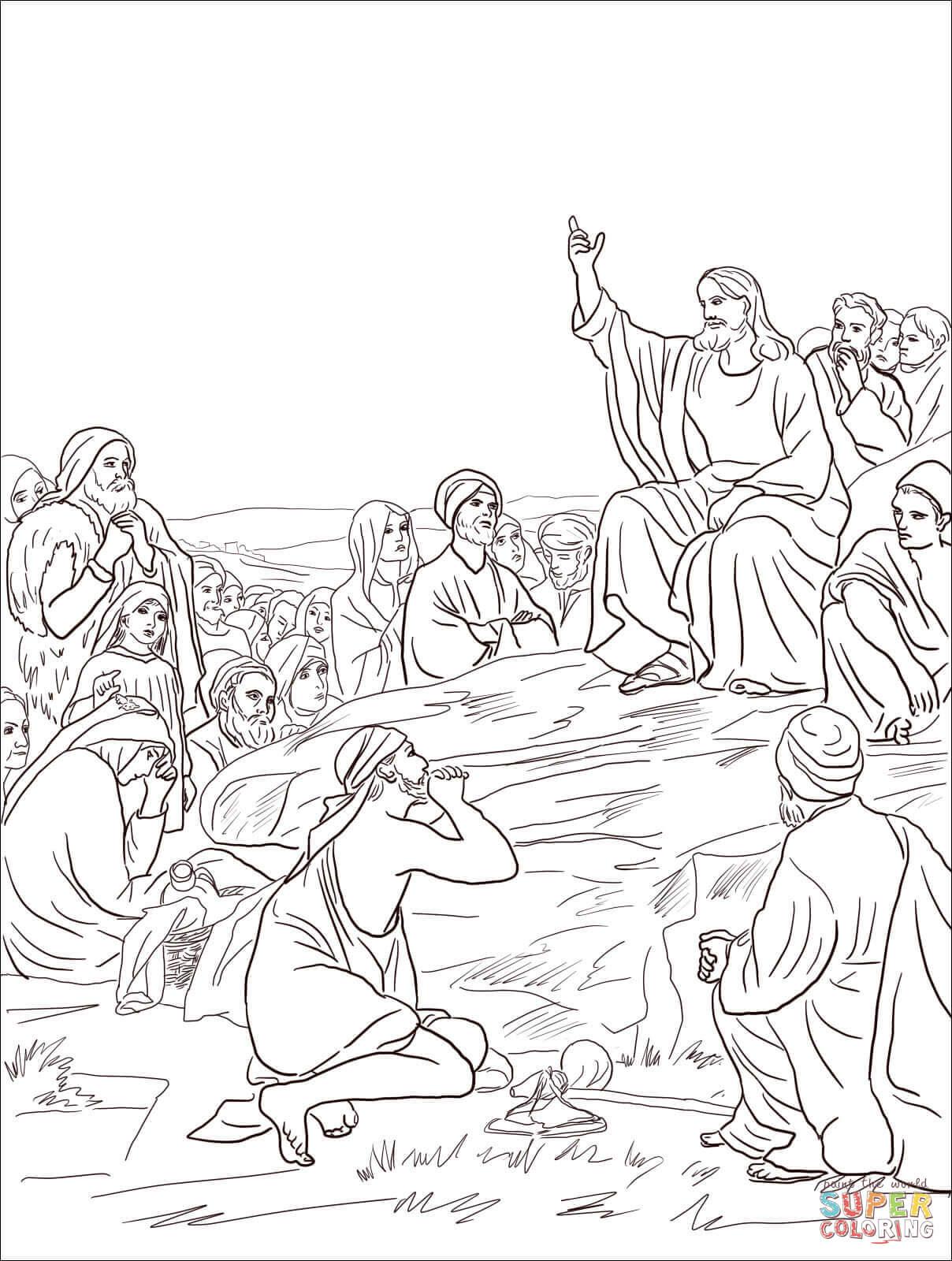 Jesus Sermon on the Mount coloring page | Free Printable ...