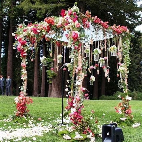 Pink Floral Garden Inspired Outdoor Wedding Ceremony   Amy