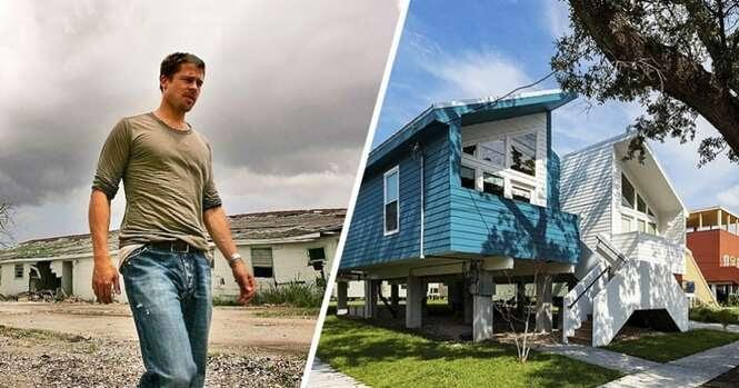 Brad Pitt construiu mais de 100 casas para famílias que perderam tudo no furacão