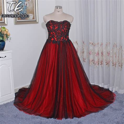 Gothic Wedding Dress with Color Sweetheart Lace Up Back