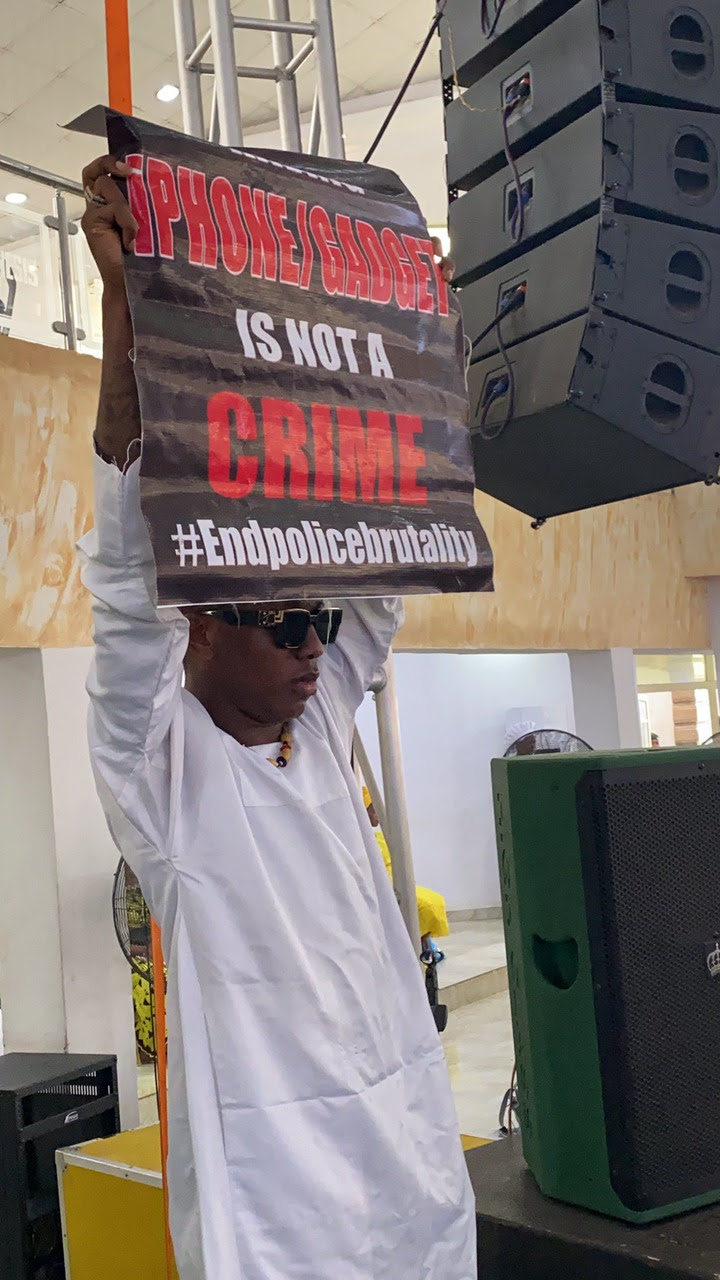 Singer, Small Doctor takes #EndSARS protest to his white garment church in Lagos (photos)