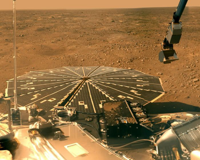 NASA's Phoenix lander with the Martian Northern Plains in the backdrop.