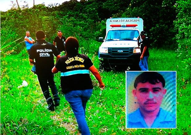 Corpo de Francisco Canindé da Silva, de 21 anos, foi encontrado com marcas de tiros em Cajupiranga, no município de arnamirim (Foto: Reprodução/Inter TV Cabugi)