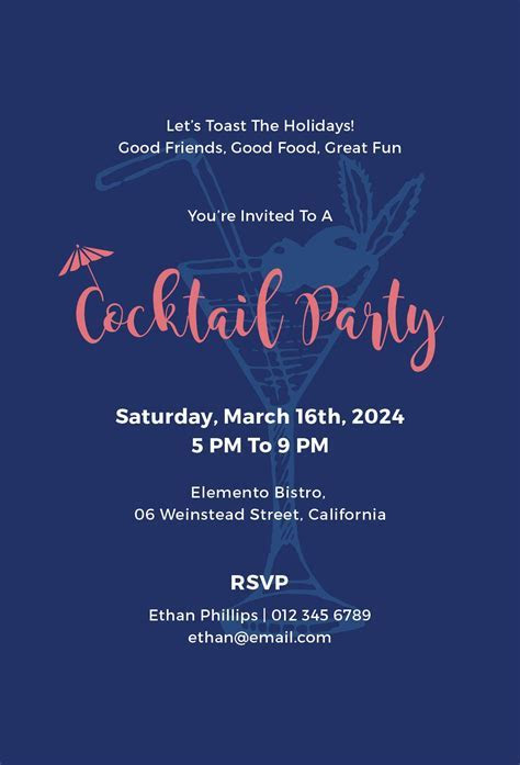Free Cocktail Party Invitation   Flyer ideas   Cocktail