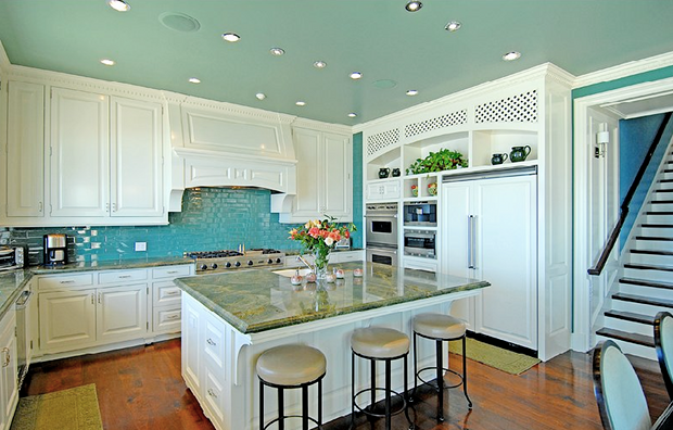 A Turquoise Kitchen in Malibu - Interiors By Color