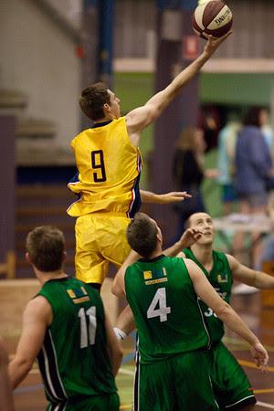 Karl Nilsson, Kurt Thompson - QBL Quarter Final Basketball: Gold Coast Rollers v Brisbane Capitals; Carrara, Gold Coast, Queensland, Australia. Photos by Des Thureson:  http://disci.smugmug.com.