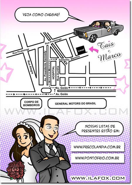 convite em história em quadrinhos personalizados para casamento, São Caetano do Sul - São Paulo by ila fox