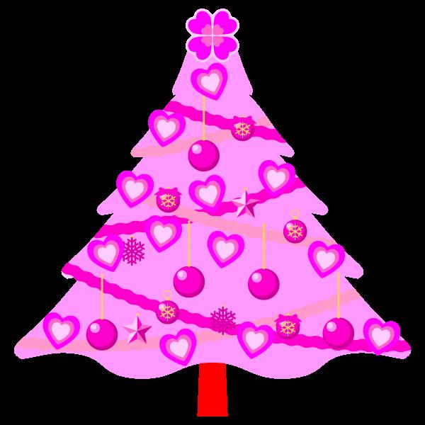 縁無しでかわいいラブラブなピンクのクリスマスツリーの無料イラスト