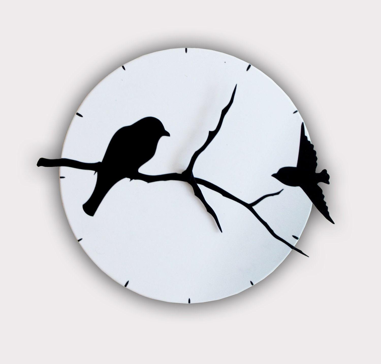 Birds on Tree Shadows Wall Clock - walldecoration