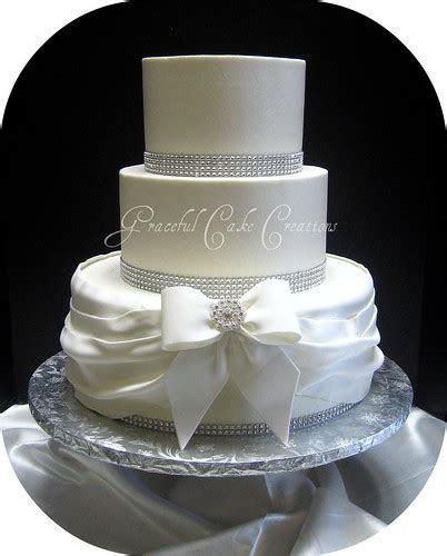 Elegant White Buttercream Wedding Cake with Bling   Grace