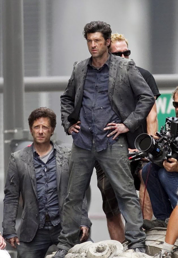 Patrick Dempsey And His Stunt Double Stand By On The Set Of Transformers 3