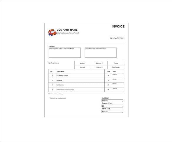 Difabio: Car Rental Invoice Format Excel