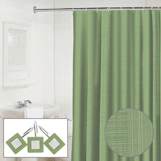 Waverly Linen 2-piece Jade Shower Curtain and Hook Set | Overstock.