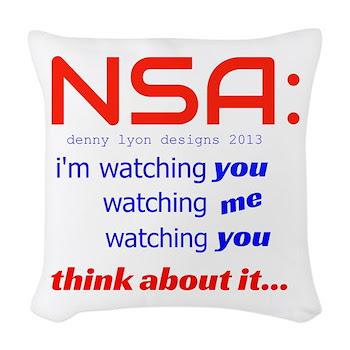 NSA Watching Woven Throw Pillow