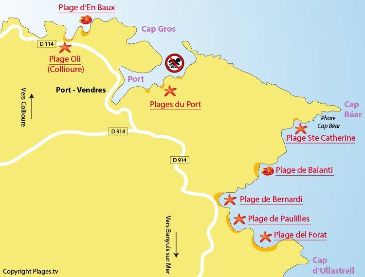 Carte des plages de Port Vendres dans les Pyrénées Orientales