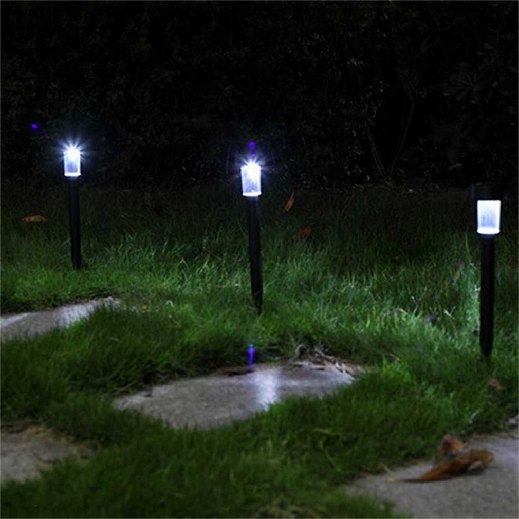 Set of 4 White Solar Lights Yard Stakes Garden Lawn Walkway Outdoor Path Lights  eBay