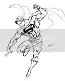Superman Coloring sheets showing him jumping in the air to fly.