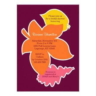 Bold Fall Leaves Bridal Shower Invitation
