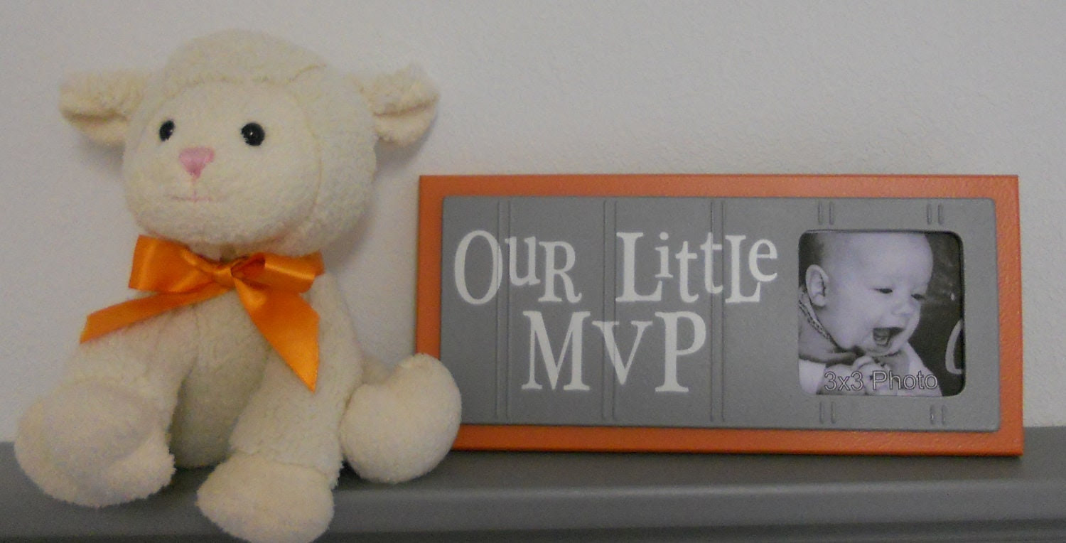 Orange and Gray Nursery Decor - Baby Boy Nursery Sports Photo Frame with Sign - OUR LITTLE MVP