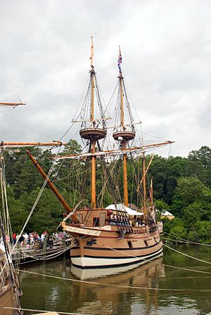 English: Replica ship in port at Jamestown Set...